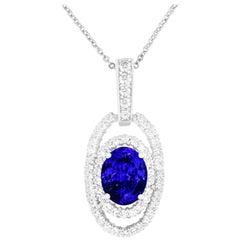 7.32 Ct Oval Shaped Tanzanite and White Diamond Pendant Halo Necklace 14K Gold