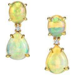 7.33 Carat Total Opal Pear & Diamond Yellow Gold Drop Dangle Post Stud Earrings