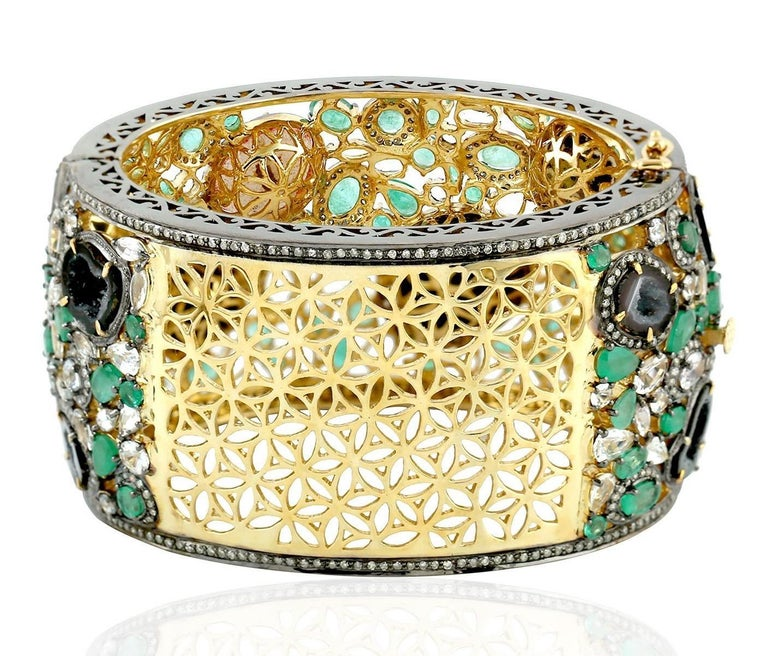 Artisan 73.38 Carat Geode Druzy Emerald Diamond Bracelet One of a Kind For Sale