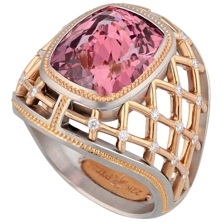7.34 Carat Lotus Garnet Ring in Platinum and Rose Gold For Sale