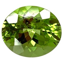 7.34 Carat Peridot Oval, Unset Loose 3-Stone Engagement Ring, Pendant Gemstone