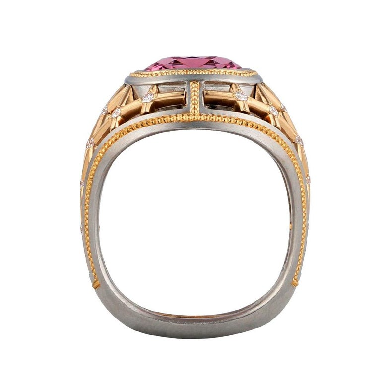 Artist 7.34 Carat Lotus Garnet Ring in Platinum and Rose Gold For Sale
