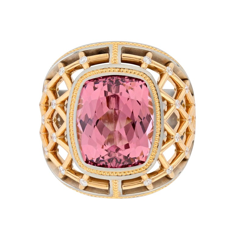 Cushion Cut 7.34 Carat Lotus Garnet Ring in Platinum and Rose Gold For Sale