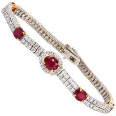 7.34ct natural ruby diamonds bracelet regency deco 14kt double row cluster