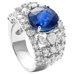 7.35 Carat Blue Sapphire and Diamond Cocktail Ring in 18 Karat White Gold