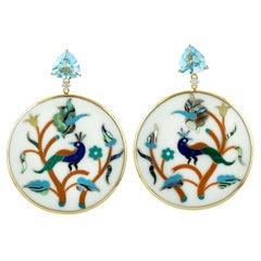 7.35 Carat Blue Topaz 18 Karat Enamel Peacock Diamond Earrings