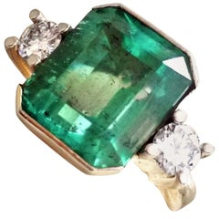 7.35 Carat Natural Colombian Emerald Diamond Engagement Ring 18 Karat Gold