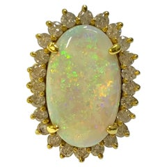 7.35 Carat Oval Opal and Diamond Ring