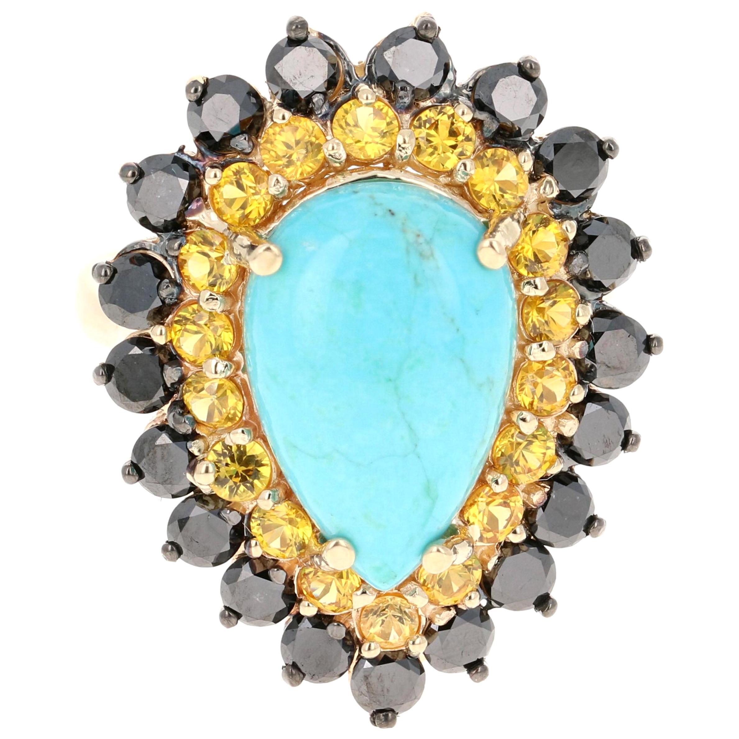 7.35 Carat Pear Cut Turquoise Sapphire Diamond 14 Karat Gold Cocktail Ring