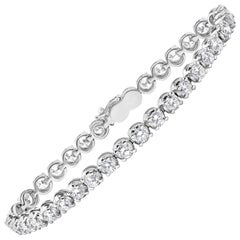 7.35 Carat Round Diamond Tennis Bracelet in White Gold