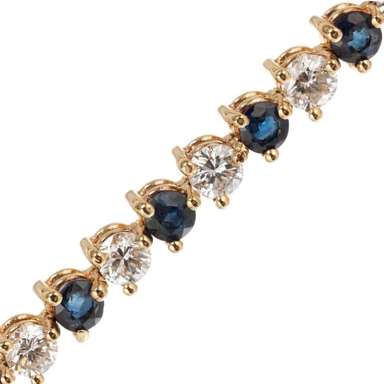Round Cut 7.35 Carat Sapphire Diamond Gold Hinged Link Bracelet For Sale