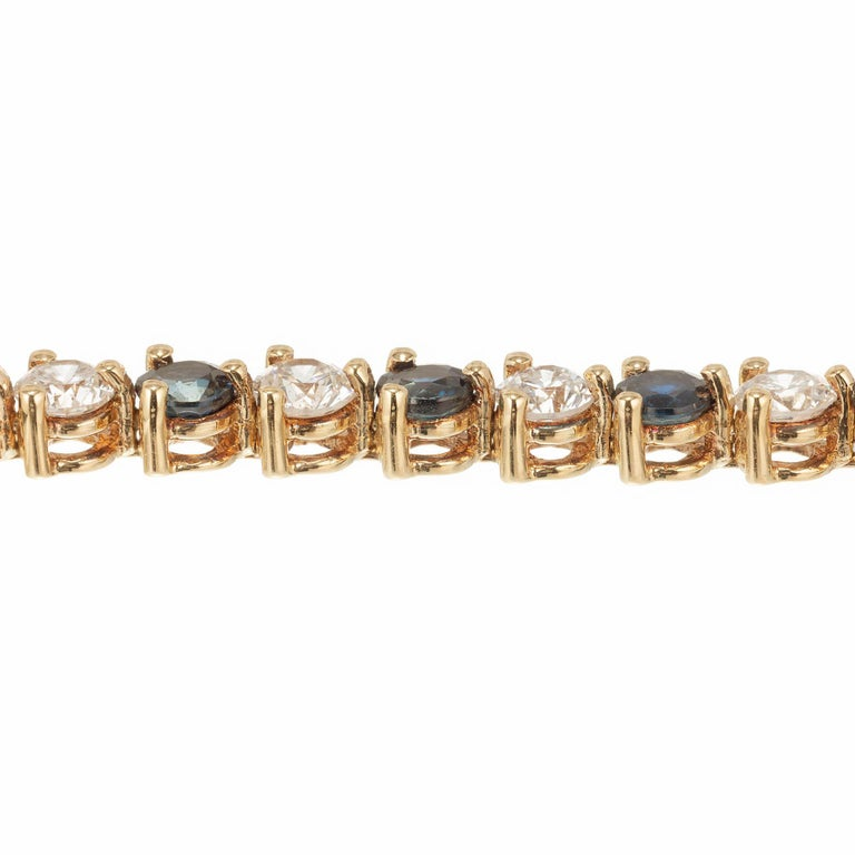 7.35 Carat Sapphire Diamond Gold Hinged Link Bracelet In Good Condition For Sale In Stamford, CT