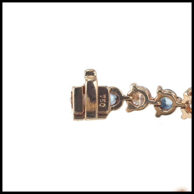 Women's 7.35 Carat Sapphire Diamond Gold Hinged Link Bracelet For Sale
