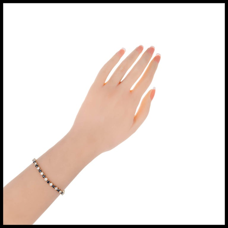 7.35 Carat Sapphire Diamond Gold Hinged Link Bracelet For Sale 1
