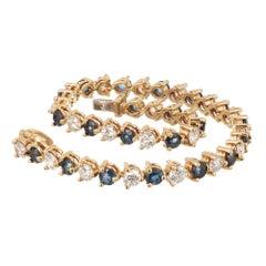 7.35 Carat Sapphire Diamond Gold Hinged Link Bracelet