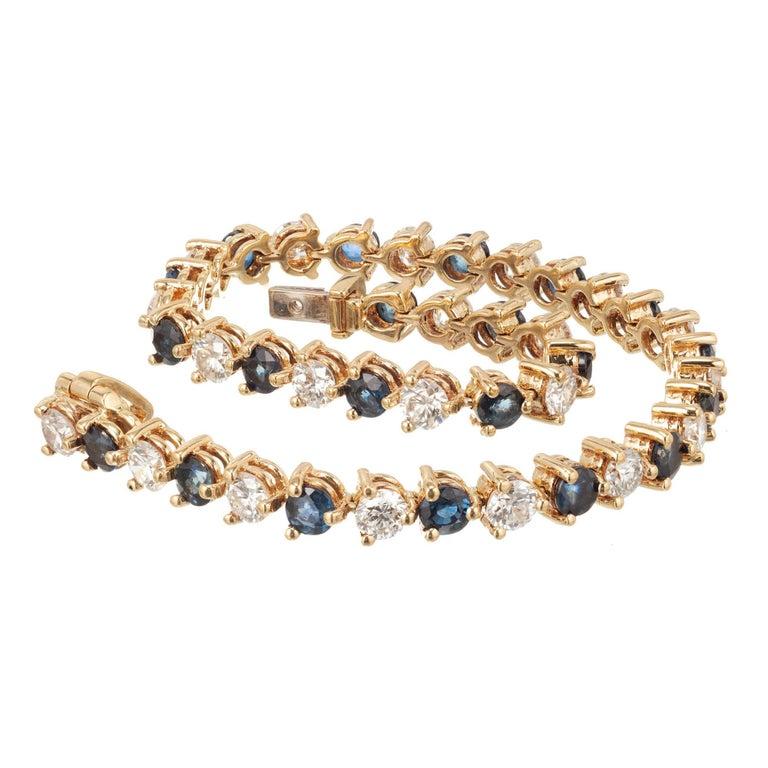 7.35 Carat Sapphire Diamond Gold Hinged Link Bracelet For Sale