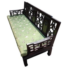 Vintage Chinoiserie Ming Style Rosewood Sofa