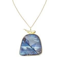 73.50ct Australian Boulder Opal & Moby 18kt Gold Pendant