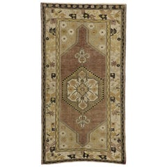 Vintage Turkish Oushak Rug with Rustic American Colonial Style