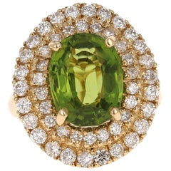 7.37 Carat Peridot Diamond 14 Karat Yellow Gold Cocktail Ring