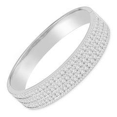 7.38 Carat Diamond Custom Bangle Bracelet Set in 14 Karat White Gold, Hinged