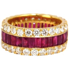 7.38ct Natural Ruby Diamond Eternity Band 18kt Revolver Prime Multirow Ring