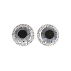 7.39 Carat Total Black Diamond Stud Earrings with Jackets in 14 Karat White Gold