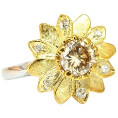 .73ct Natural Fancy Orange Brown Diamond Floating Petals Ring 14 Karat Petite