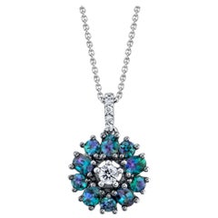 .74 ct. t.w. Alexandrite Halo and Diamond 18k White Gold Circle Pendant Necklace