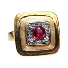 .74 Carat Chinese Pagoda Vintage Natural Ruby Ring 14 Karat