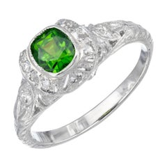 .74 Carat Green Demantoid Garnet Diamond Platinum Engagement Ring