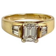 .74 Carat Natural Emerald Cut Diamond Ring w/ Baguette Diamonds 1.0 CTW. 14K Y/G