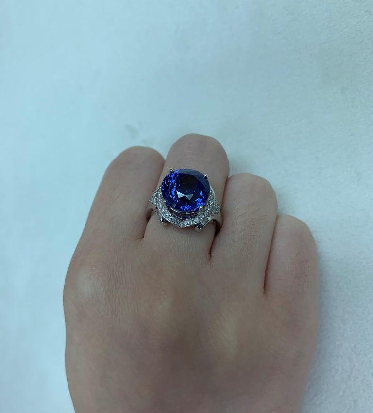 Contemporary 7.4 Carat Tanzanite and White Diamond Ring in 18 Karat White Gold For Sale