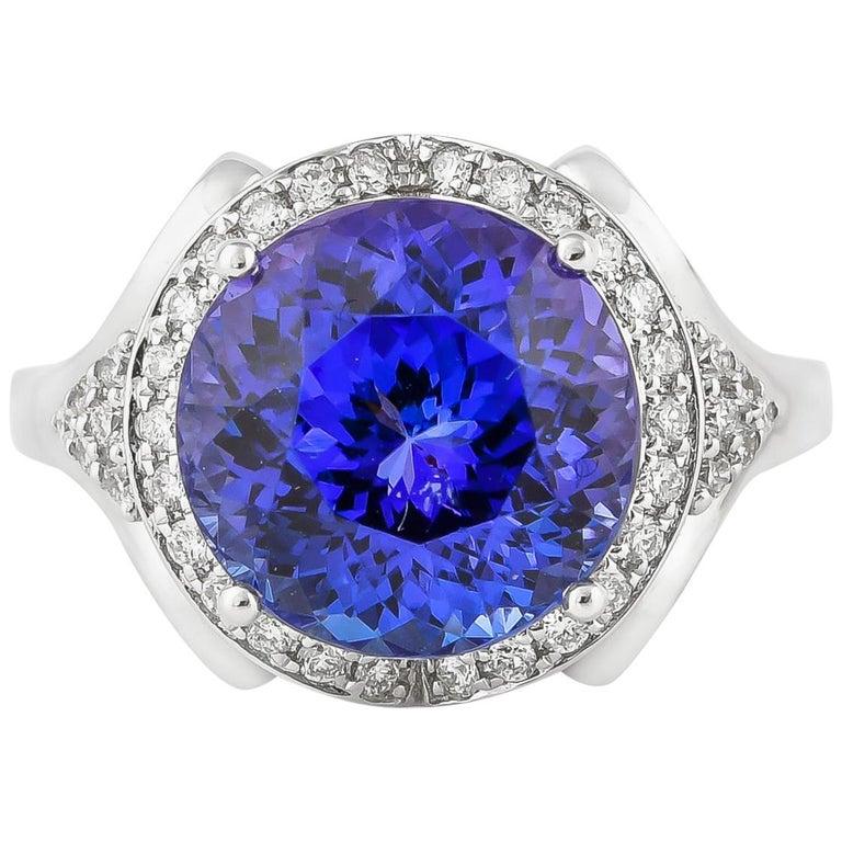 7.4 Carat Tanzanite and White Diamond Ring in 18 Karat White Gold For Sale