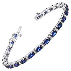 7.40 ct. t.w. Blue Sapphire and White Diamond 14k White Gold Tennis Bracelet