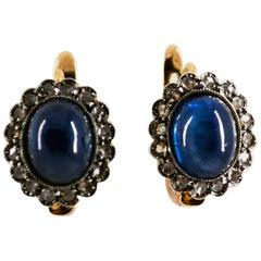 7.40 Carat Blue Sapphire White Rose Cut Diamond Yellow Gold Lever-Back Earrings