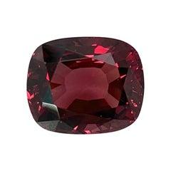 7.40 Carat Burgundy Rhodolite Garnet Cushion, Unset Loose Ring, Pendant Gemstone
