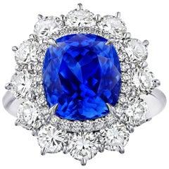 7.40 Carat Cushion Blue Sapphire and Diamond Ring