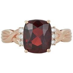 7.41 Carat Cushion Cut Rhodolite Garnet White Diamond Twist Ring 14 Karat Gold