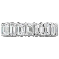 7.41 Carat Emerald Cut Diamond Eternity Wedding Band