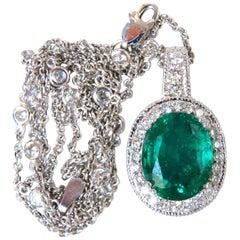 7.41 Carat Natural Emerald Diamonds Necklace 14 Karat Station and Solitaire