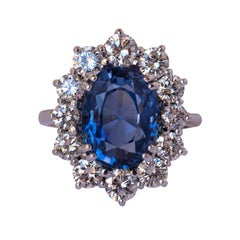 French 1960s No Heat 7.42 Carat Ceylon Sapphire Diamond White Gold Cluster Ring