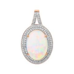 7.42 Carat Ethiopian Opal and White Diamond 14 Karat Rose Gold Pendant