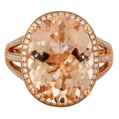7.42 Carat Oval Shaped Morganite Ring in 18 Karat Rose Gold with Diamonds