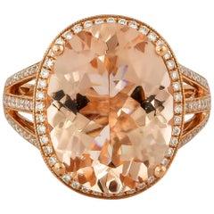 7.42 Carat Oval Shaped Morganite Ring in 18 Karat Rose Gold with Diamonds