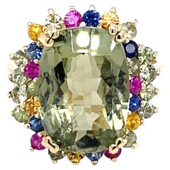 7.42 Carat Tourmaline and Multi-Sapphire 14K Yellow Gold Cocktail Ring