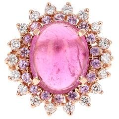 7.42 Carat Tourmaline Pink Sapphire Diamond 14 Karat Rose Gold Ring
