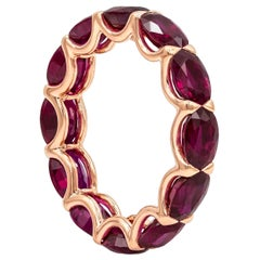 Roman Malakov 7.43 Carat Oval Cut Ruby East-West Eternity Wedding Band