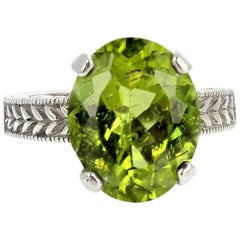 7.43 Carat Peridot Sterling Silver Ring