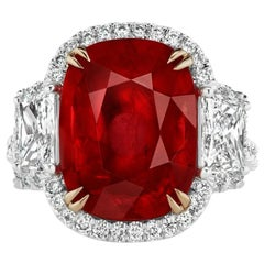 7.44 Carat Mozambique Ruby and Diamond Ring